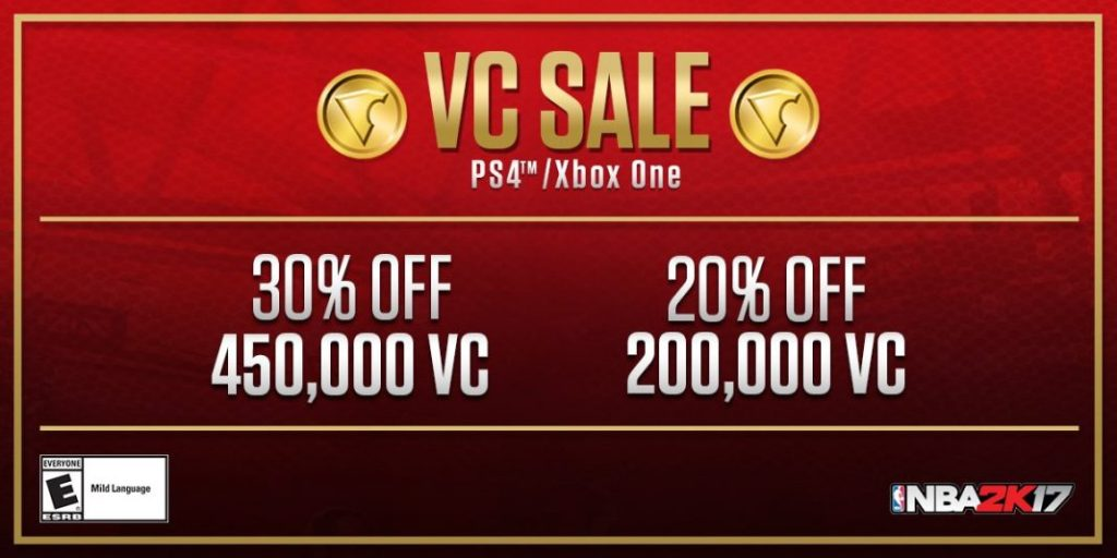NBA 2K17 Deals: VC Sale for this Week (PS4 & XB1) | NBA 2KW