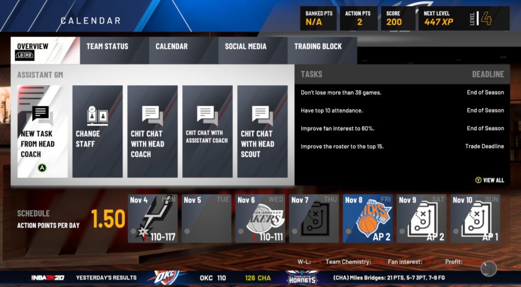 NBA 2K20 MyGM / MyLEAGUE Mode Details & Features: Leaderboards